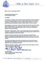Padre Raúl Angulo, Carta a la Santa Sede