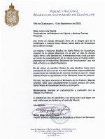 Monseñor Diego Monroy, Carta Referencia